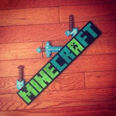 Minecraft logo perler beads by hobbies_n_stuff