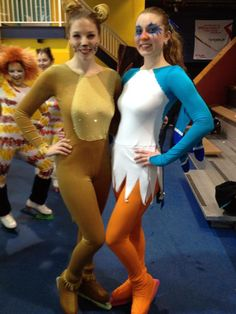 "Finished costumes for ""I Just Can't Wait To Be King"" duet! Simba unitard out of gold velvet and gold lycra, lycra fringe at wrists and ankles, matching bootcovers and rhinestoning on chest. Zazu's one piece dress is out of white, blue and orange lycra with matching lycra bootcovers. Sleeves have ""wings"" and back of dress has ""tailfeathers"" with rhinestone embellishment. Took 1st place at NY Showcase!"