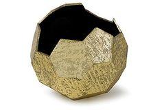 "14"" Polyhedron Vase, Gold*"