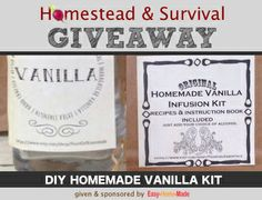 Free giveaway of a wonderful DIY Vanilla Kit...http://homestead-and-survival.com/giveaway/