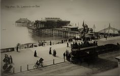 The American Palace Pier St Leonards on Sea Circa With a tram advertising Van Holtens Cocoa in the foreground. Hastings Pier, Hastings East Sussex, Old Pictures, Old Photos, Battle East Sussex, Luxury Sailing Yachts, Seaside Resort, Digital Image, Old Town