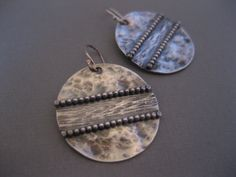 Stering Silver Hammered Disk Earrings by StrawberryFrog on Etsy, $65.00