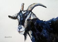 White&Black Goat Portrait Farm Animal Original Watercolor Painting