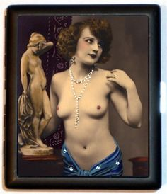 Nude Flapper Erotic Tinted Style Seven Pinup Pin up Cigarette ID Case Business Card Holder Wallet