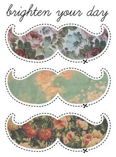 Print and cut out these floral mustaches to use as props for your photo booth or other fun occasions!
