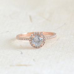 Diamond Rose gold ring, engagement ring, about 0.8 Carat white sapphire LP14