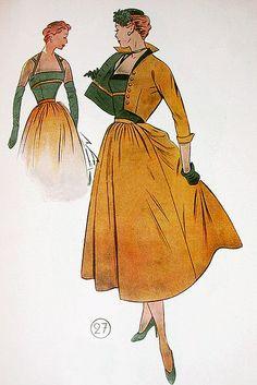la coupe d'or 1955 dress This jacket! Vintage Fashion Sketches, Fashion Illustration Vintage, Fashion Illustrations, Vintage Dress Patterns, Vintage Dresses, 1940s Fashion, Fashion Art, Womens Fashion, Vintage Ladies