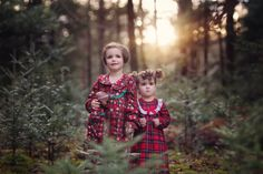 sibling Christmas portrait, sister portrait, woods, forest, flannel nightgown, Vermont photographer, Shannon Alexander Photography
