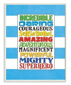 Look at this #zulilyfind! Blue Stripe 'Superhero' Words Rectangle Wall Art by Stupell Industries #zulilyfinds