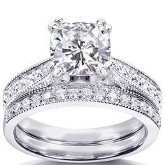 @Overstock.com - 14k Gold Moissanite and 1/3ct TDW Diamond Bridal Ring Set (G-H, I1-I2) - Moissanite and diamond bridal ring set14-karat white gold jewelryClick here for ring sizing guide  http://www.overstock.com/Jewelry-Watches/14k-Gold-Moissanite-and-1-3ct-TDW-Diamond-Bridal-Ring-Set-G-H-I1-I2/7559474/product.html?CID=214117 $1,019.99