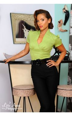 Sean Top in Olive Green Poplin -  This versatile short sleeve blouse will electrify your office attire with its unique seaming, cuffed sleeves, bright olive color, and stand up collar. This sleek top features a cross-over and darted bust and an inverted back zipper (just like our Doris top) for a sexy, fitted silhouette. Ideal for smaller bust lines; for the very busty, you'll want to size up - See more at: http://www.pinupgirlclothing.com/sean-top-olive.html#sthash.L56uF6a2.dpuf