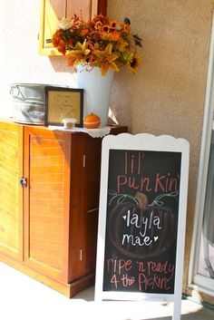 """Fall baby shower-- I want a Lil Punkin baby shower! :)) I called Xander my """"Punkin head"""" when he was a baby. Baby Shower Fall, Fall Baby, Baby Shower Themes, Baby Boy Shower, Shower Ideas, September Baby Showers, Little Pumpkin Shower, Baby Shower Chalkboard, Baby Sprinkle"""
