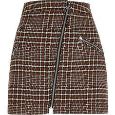 River Island Brown check zip mini skirt (235 BRL) ❤ liked on Polyvore featuring skirts, mini skirts, brown, women, brown mini skirt, river island, river island skirts, zip skirt and short brown skirt