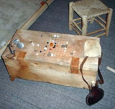 Sea Chest with game carved on lid. This site has photos for 3 different viking status's