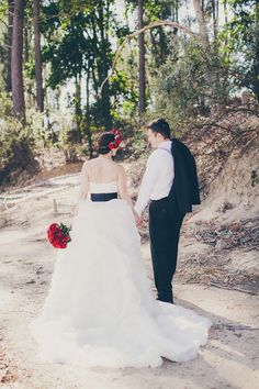Red Roses and Monochrome Stripes Wedding by Fiona Clair | SouthBound Bride
