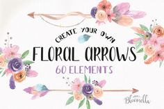 Create your Own ARROWS Watercolor 60 Elements Boho Feathers Flowers By Bloomella