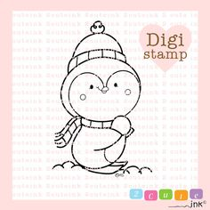 Playtime Winter Penguin Digital Stamp for Card Making, Paper Crafts, Scrapbooking, Hand Embroidery, Invitations, Stickers, Coloring Pages