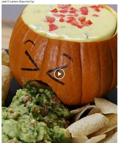 jack o lantern chips and dip