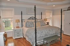 Master bdrm- Paint all furniture white and add wainscotting