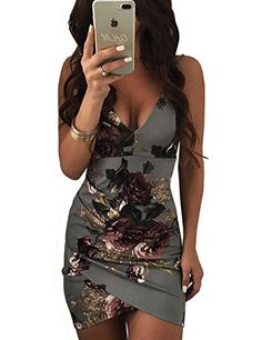 VintageRose Womens Spaghetti Strap Open Back Floral Print Bodycon Dress Gray S  Size:S,M,L,XL;  Bust(inch):S:31.4;M:33;L:34.6;XL:36.2;  Waist(inch):S:25.9;M:27.5;L:29.1;XL:30.7;  Hip(inch):S:33;M:34.6;L:36.2;XL:37.7;  Color:Dark Gray/Blue  Pattern:Print  Neckline:V Neck  Material:Milk Silk  Style:Sexy  Sleeve Length:Sleeveless  Package Include: 1*Woman Dress  Note: There might be 2-3% difference according to manual measurement.  Please check the measurement chart carefully before you..