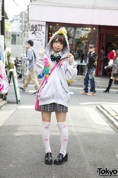 1adc7d7737 Cute Japanese girl with colored hair wearing a hand decorated hoodie