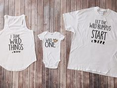 Where the Wild Things are: 3 Shirt Set, Mom, Dad, and Baby Matching Shirts, Wild Birthday, Wild and One, Kids clothing, Matching Outfits