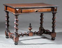 Renaissance-Style Parcel Ebonized Table.