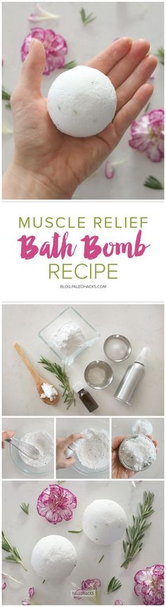 A better-than-store-bought bath bomb with ingredients to soothe and relax aching muscles. Get the recipe here: http://paleo.co/musclebathbomb #ChristmasDIYcrafts