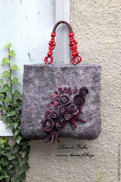 61e5e691ed2b Валяная сумка Red roses войлочная из войлока. Оксана Чеглакова · валяные  сумки