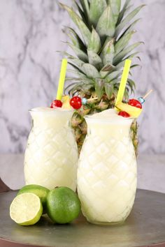 Easy Piña Coladas are a classic party cocktail for any occasion. An refreshing combination of pineapple, coconut and lime with light rum. Amazing tropical rum cocktail that is always the hit of the party! Pineapple Cocktail, Pineapple Margarita, Pineapple Lemonade, Pineapple Coconut, Coconut Rum, Pineapple Glasses, Pina Colada Margarita Recipe, Pina Colada Recipe Coconut Milk, Pina Colada Rum