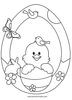 Ghirlanda di Pasqua con pulcino da attaccare sulle finestre o sulle pareti dell'aula scolastica. ADDOBBI DI PASQUA Ghirlanda di Pasqua Materiale: cartoncin Easter Coloring Sheets, Spring Coloring Pages, Easter Colouring, Colouring Pages, Coloring Books, Easter Art, Easter Crafts For Kids, Easter Eggs, Easter Colors