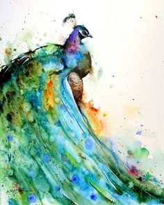 Beautiful peacock painting, watercolor, by the very talented Dean Crouser, Gresham Oregon. His work inspires me with its simplicity and his command of the medium.