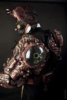 A very unusual steampunk armor Steampunk Armor, Steampunk Goggles, Steampunk Costume, Steampunk Clothing, Steampunk Fashion, Diesel Punk, Victorian Goth, Victorian Fashion, Cyberpunk
