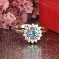 Natural Blue Sapphire Engagement Ring in 14k White Gold Halo Diamond Cluster Ring 1.14 ct Blue Gemstone Ring