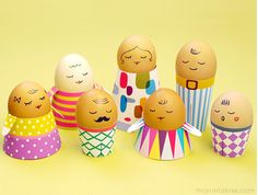 9 awesome, easy Easter crafts for kids. Love these free printable egg family templates!
