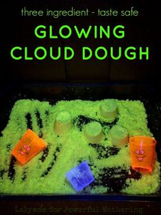 Three Ingredient Taste Safe Glowing Cloud Dough - a kid friendly play recipe # tastesafe Guys 21st Birthday, 21st Birthday Cakes, Craft Activities For Kids, Crafts For Kids, Sensory Activities, Cloud Dough Recipes, Homemade Paint, Sorority Crafts, Play Recipe