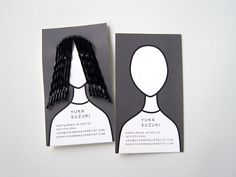 "business card for a hair and make-up stylist - the ""hair"" is made from hairpins that are clipped onto the biz card."