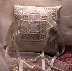 cindy valentine hardanger | Julie Wedding Ring Pillow by Cindy Valentine Designs Wedding Ring Cushion, Cushion Ring, Hardanger Embroidery, Cross Stitch Embroidery, Ring Pillows, Valentines Design, Brazilian Embroidery, Cross Stitch Samplers, Cutwork