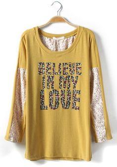 Yellow Floral Letter Patchwork Loose Cotton Blend T-Shirt