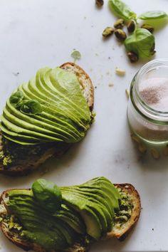 chunky pistachio pesto + avocado toast
