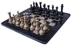 RADICALn Handmade Black and Coral Marble two player Chess Game Marble Chess Set Chessboard 12 Inches Chess Set *** Read more reviews of the product by visiting the link on the image.
