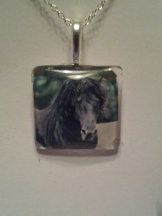 $12.00 Friesian Horse Pendant necklace with sterling silver by Lobax.  See more horse jewelry in my Etsy store!