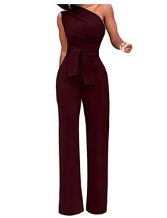 bcf09d0c8429 Alion Womens High Waist Solid Jumpsuit One Shoulder Sleeveless Romper