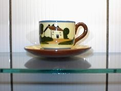 """Vintage WATCOMBE Torquay MOTTOWARE demi tasse CUP & SAUCER """"The Cup That Cheers"""""""