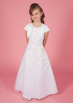 Rhian - Linzi Jay Communion Dress - Full Length A Line Tulle Overlay Floral Embroidered Pearls Beaded With Bolero - Age 8 , Years Holy Communion Dresses, Baptism Outfit, Satin Jackets, Dress Suits, Dress First, Designer, Fashion Dresses, Tulle, White Dress