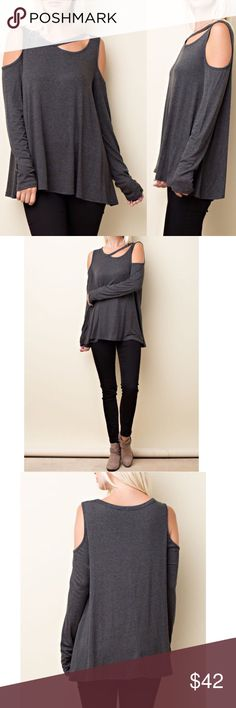 "Round neck cold shoulder top w neckline cut out Round neck long sleeve open cold shoulder top with neckline cut out detail in color charcoal   Features: Lightweight Unlined Cut out neckline Easy to pullover Comfortable to wear Made with a modalico fabrication that is soft and has stretch  Material :90% Rayon ,10% spandex  MEASUREMENTS:   Small( 2/4):  Armpit to Armpit: 19"" Length:27""  Medium( 6/8):  Armpit to Armpit: 20"" Length:27.5""  Large( 10/12):  Armpit to Armpit: 21"" Length:27.5"" Pink…"
