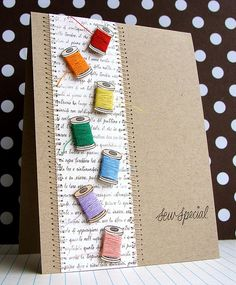 Sew Special card - by Lucy Abrams. Wrap thread around stamped spool. Cute Cards, Diy Cards, Karten Diy, Sewing Cards, Friendship Cards, Card Tags, Paper Cards, Creative Cards, Greeting Cards Handmade