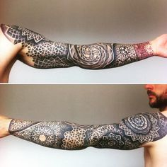 S sacred geometry tattoo by anna day pointillism tattoo Geometric Sleeve Tattoo, Geometric Tattoo Design, Mandala Sleeve, Geometric Mandala, Mandala Design, Trendy Tattoos, Black Tattoos, Tattoos For Guys, Neue Tattoos