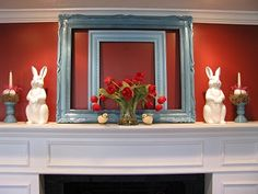 Easter mantle. I'm loving the painted empty frame idea.
