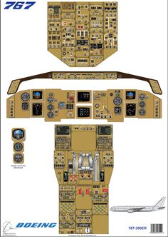 Boeing 767 - 300ER cockpit diagram used for training pilots